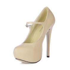 Leatherette Stiletto Heel Pumps Platform Closed Toe With Buckle shoes (085016683)