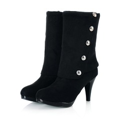 Women's Leatherette Stiletto Heel Boots Mid-Calf Boots shoes