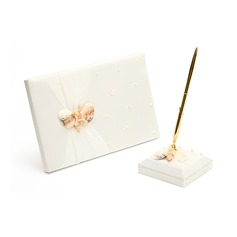 Delicate Satin Faux Pearl/Starfish and Seashell Guestbook/Pen Set
