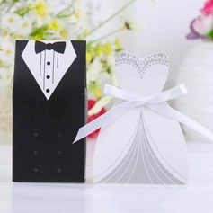 Tuxedo And Gown Favor Box With White Ribbon (Set of 12)  (050024303)