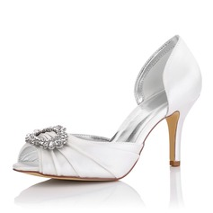 Women's Satin Stiletto Heel Peep Toe Sandals Dyeable Shoes With Rhinestone