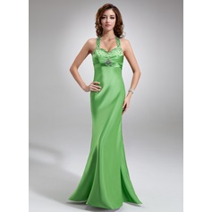 Empire Halter Floor-Length Charmeuse Prom Dress With Ruffle Beading Sequins