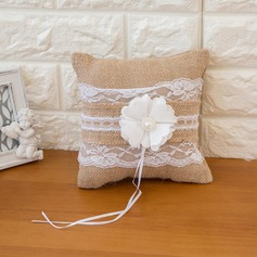 Pure Elegance Ring Pillow in Satin With Flowers
