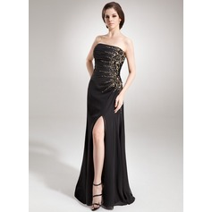 A-Line/Princess Strapless Floor-Length Chiffon Evening Dress With Ruffle Beading Sequins Split Front