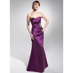 Trumpet/Mermaid Scalloped Neck Floor-Length Satin Evening Dress With Ruffle Beading