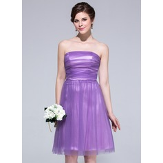 A-Line/Princess Strapless Knee-Length Tulle Bridesmaid Dress With Ruffle