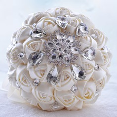 Pure Round Satin/Rhinestone/Imitation Pearl Bridal Bouquets/Bridesmaid Bouquets