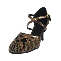 Women's Leatherette Heels Modern With Ankle Strap Dance Shoes