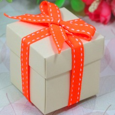 Ivory Favor Box With Orange Ribbon - Set Of 12 (050026290)
