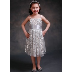 Empire Tea-length Flower Girl Dress - Tulle Sleeveless Straps With Sequins/Bow(s)