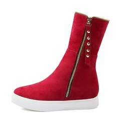 Women's Suede Flat Heel Pumps Closed Toe Wedges Boots shoes