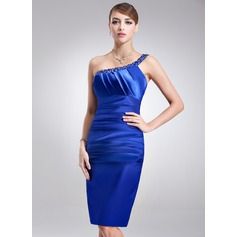 Sheath/Column One-Shoulder Knee-Length Charmeuse Cocktail Dress With Ruffle Beading (016002920)