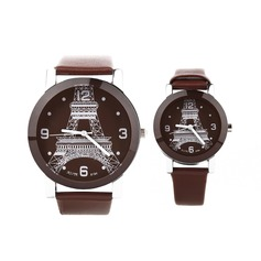 Personalized Eiffel Tower Design Leatherette/Alloy Couples Watch (Set of 2)