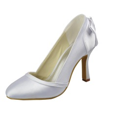 Women's Satin Spool Heel Closed Toe Pumps With Bowknot