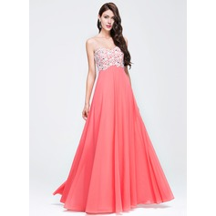 Empire Sweetheart Floor-Length Chiffon Prom Dress With Beading Appliques Lace Sequins