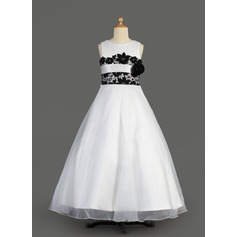 A-Line/Princess Floor-length Flower Girl Dress - Organza/Satin Sleeveless Scoop Neck With Lace