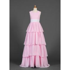 A-Line/Princess Scoop Neck Floor-Length Chiffon Junior Bridesmaid Dress With Sash