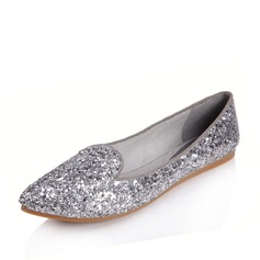 Real Leather Sparkling Glitter Flat Heel Closed Toe Flats