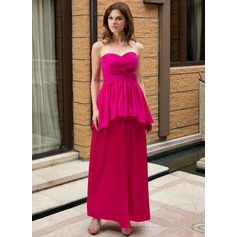 Sheath/Column Sweetheart Ankle-Length Maternity Bridesmaid Dress With Cascading Ruffles