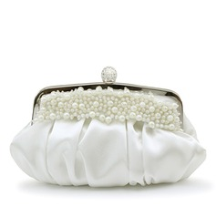 Gorgeous Satin With Imitation Pearl Clutches