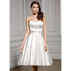A-Line/Princess Sweetheart Knee-Length Satin Wedding Dress With Beading Sequins