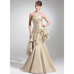 Trumpet/Mermaid Sweetheart Court Train Satin Mother of the Bride Dress With Ruffle Beading Flower(s) Cascading Ruffles