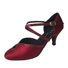 Women's Satin Sparkling Glitter Heels Modern With Ankle Strap Buckle Dance Shoes