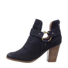 Women's Suede Chunky Heel Boots Ankle Boots With Button shoes