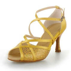 Women's Satin Sparkling Glitter Heels Pumps Latin With Ankle Strap Dance Shoes