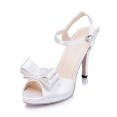 Women's Satin Stiletto Heel Pumps Sandals With Bowknot Buckle