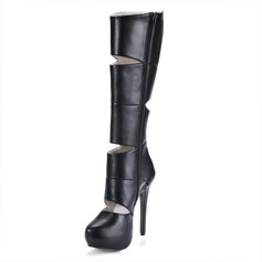Leatherette Stiletto Heel Closed Toe Platform Knee High Boots With Hollow-out (088017948)