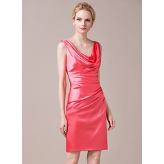 Sheath/Column Cowl Neck Knee-Length Charmeuse Bridesmaid Dress With Ruffle