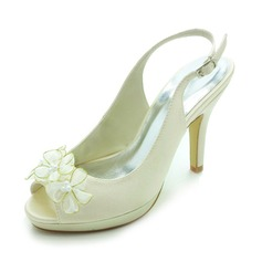 Women's Satin Cone Heel Peep Toe Platform Sandals Slingbacks With Satin Flower