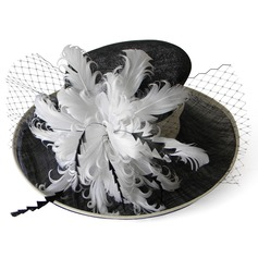 Ladies' Special Summer Cambric With Feather Bowler/Cloche Hat
