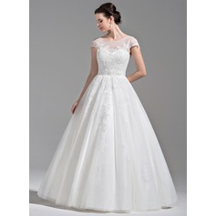 Ball-Gown Scoop Neck Floor-Length Tulle Wedding Dress With Beading Appliques Lace Sequins