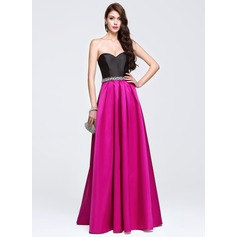A-Line/Princess Sweetheart Floor-Length Satin Prom Dress With Beading Sequins