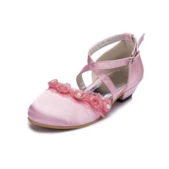 Kids' Satin Low Heel Closed Toe Pumps With Imitation Pearl Flower