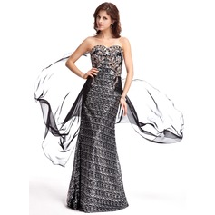 Sheath/Column Sweetheart Sweep Train Chiffon Sequined Evening Dress With Beading