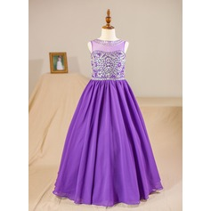 Ball Gown Floor-length Flower Girl Dress - Chiffon Sleeveless Scoop Neck With Beading (Petticoat NOT included)