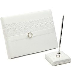 Beautiful Lace/Satin Rhinestones/Bow/Sash Guestbook & Pen Set