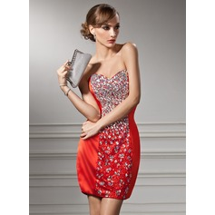 Sheath/Column Sweetheart Short/Mini Charmeuse Sequined Cocktail Dress With Beading