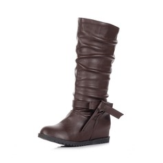 Leatherette Flat Heel Mid-Calf Boots With Bowknot shoes