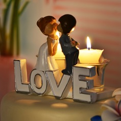Kissing Couple Ceramic Wedding Cake Topper