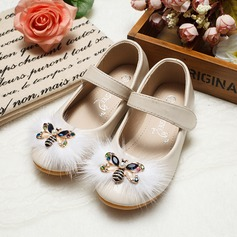 Girl's Leatherette Flat Heel Round Toe Flats With Rhinestone