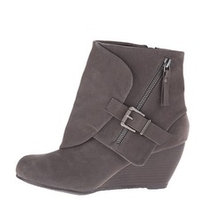 Women's Suede Wedge Heel Pumps Closed Toe Wedges Boots Ankle Boots With Buckle Zipper shoes