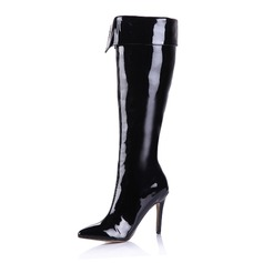Patent Leather Stiletto Heel Over The Knee Boots With Zipper shoes
