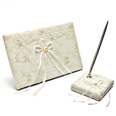 Cute Faux Pearl/Ribbons Guestbook & Pen Set