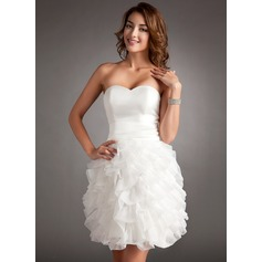 Sheath/Column Sweetheart Short/Mini Organza Homecoming Dress With Cascading Ruffles