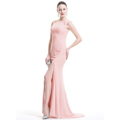 Trumpet/Mermaid Scoop Neck Sweep Train Tulle Evening Dress With Split Front
