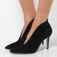 Women's Suede Chunky Heel Pumps Ankle Boots shoes